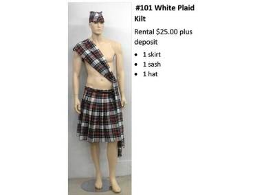 101 White Plaid Kilt