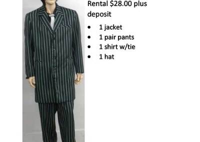 837B Green & White Stripes Zoot Suit