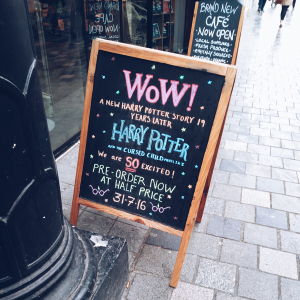 blackboard sign outside waterstones