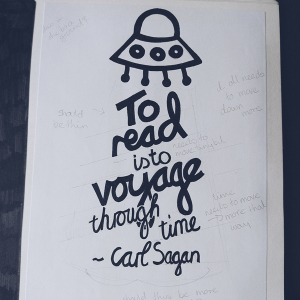 hand lettered typographic layout featuring carl sagan quote