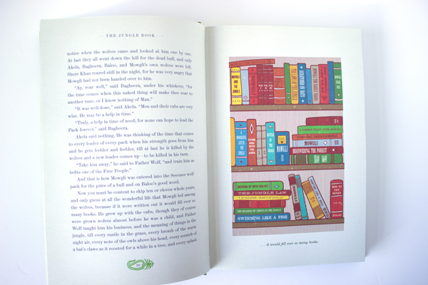book shelf illustration from the minalima edition of jungle book