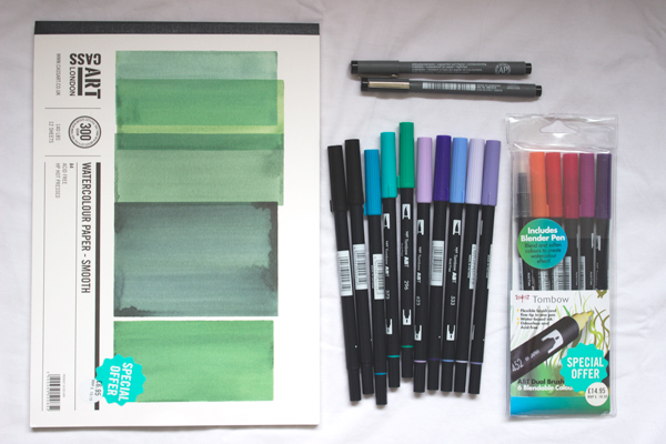 art supplies bought at cass art student day