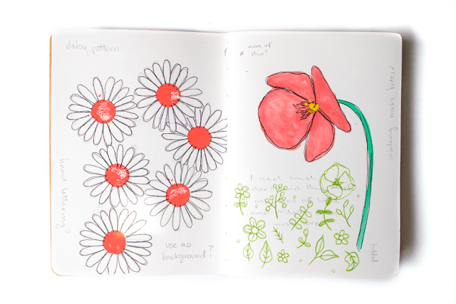sketchbook page poppy daisy flowers watercolour paint