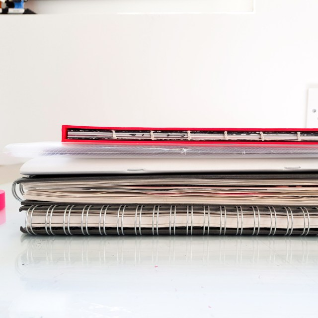 example of numerous sketchbooks used for a single project
