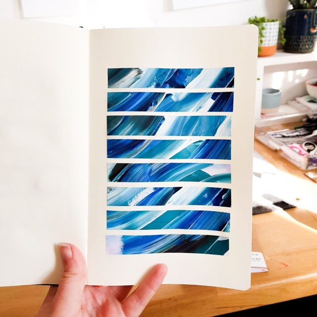 example of textured pieces in sketchbook