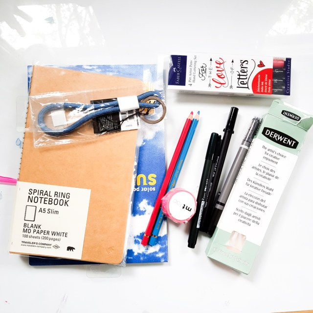 items bought from London Graphics, including MD Paper notebook and pens