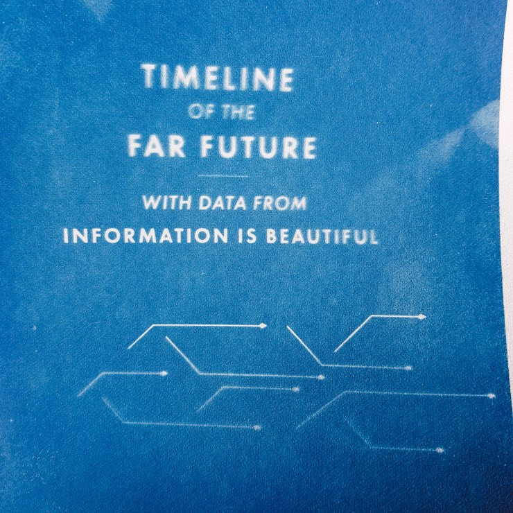 "Cyanotype print from graphic design project which reads ""timeline of the far future with data from information is beautiful""."