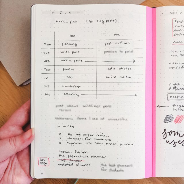 Blog post collection and daily log in bullet journal.