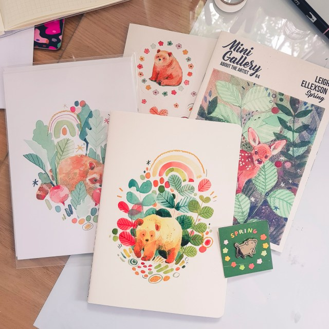 Stationery items featuring illustrations by Leigh Ellexson from the Mini Gallery Box subscriopion.