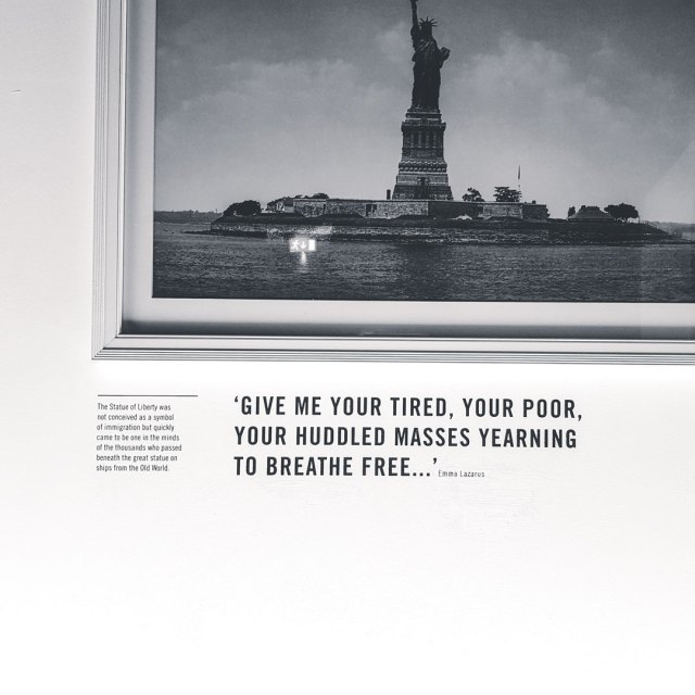 Image of Statue of Liberty with poem by Emma Lazarus.