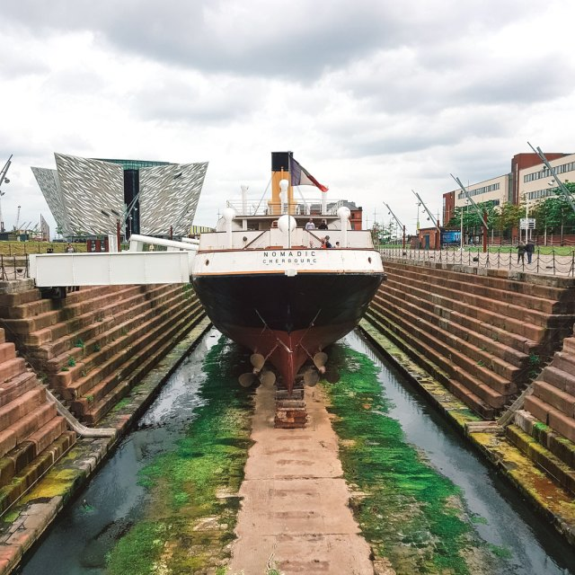 SS Nomadic outside the Titanic Museum in Belfast.