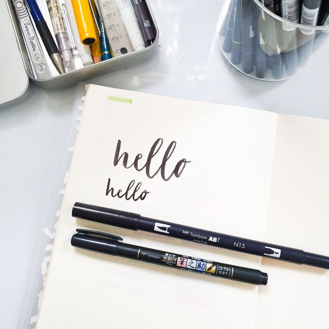 Examples of calligraphy using the Tombow markers.