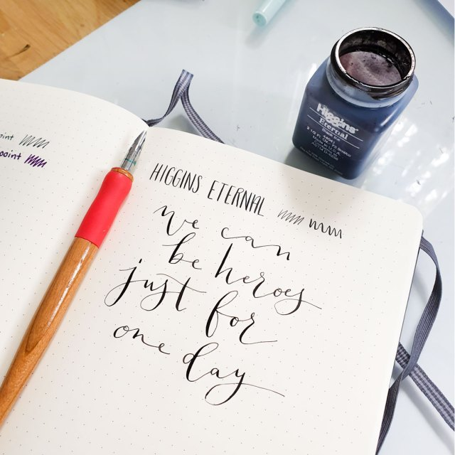 Modern calligraphy with dip pen.
