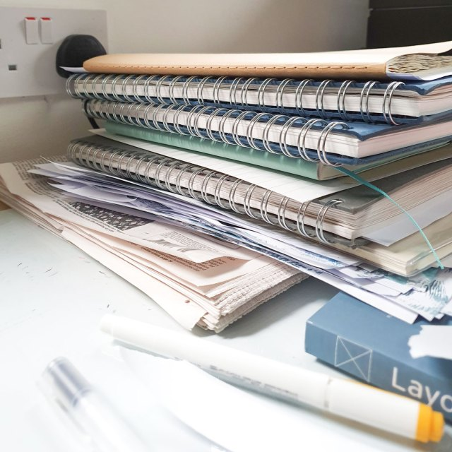 All 6 sketchbooks used for a semester at university in 2019.