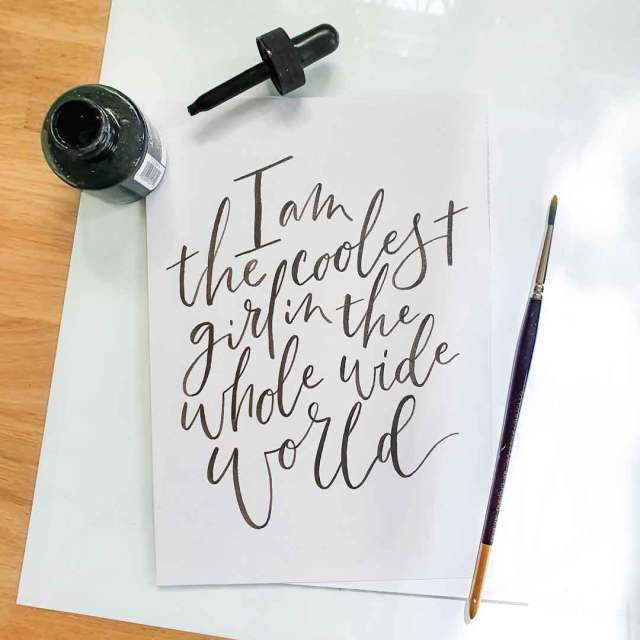 Example of brush calligraphy which can be a very enjoyable creative hobby.