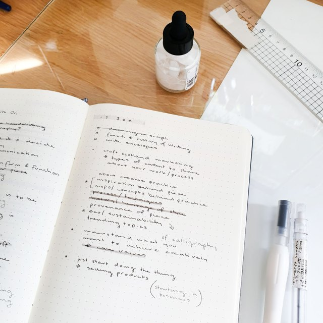 Image shows a daily log in a bullet journal.