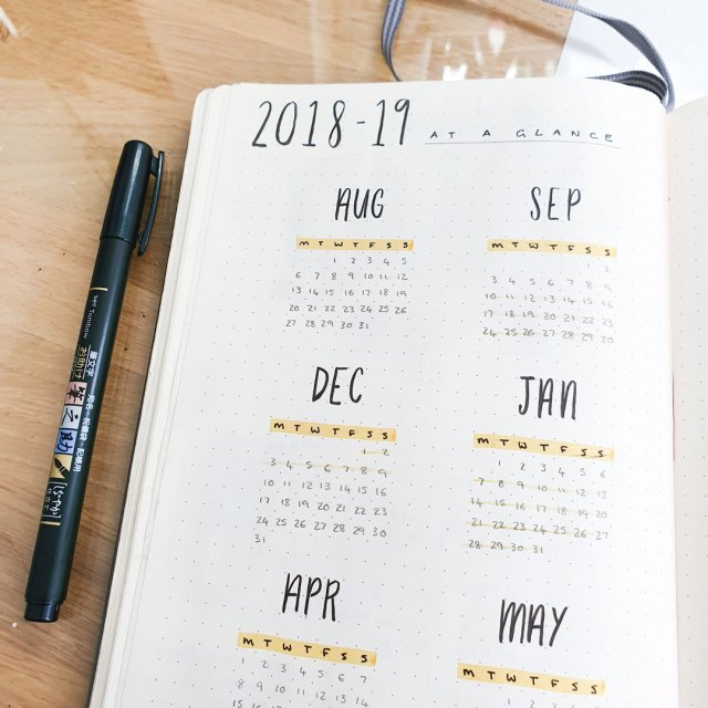 Image shows semester overview page in bullet journal.