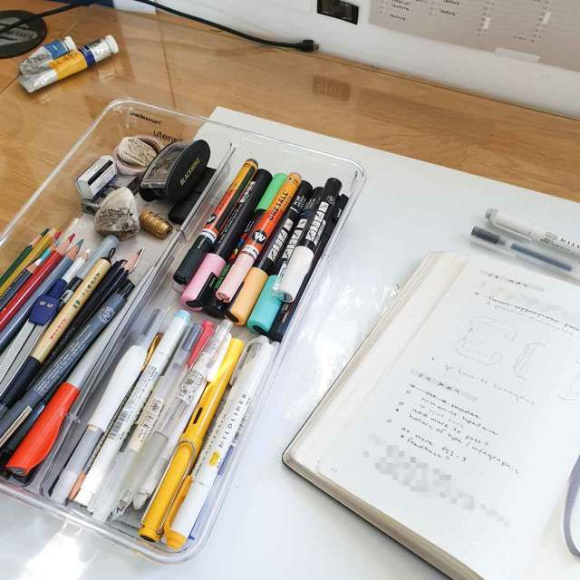 Image shows my essential tools stored in a utensil organiser so they can be close at hand.