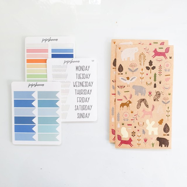 Image shows different types of stickers you can buy if you want to bullet journal on a budget.