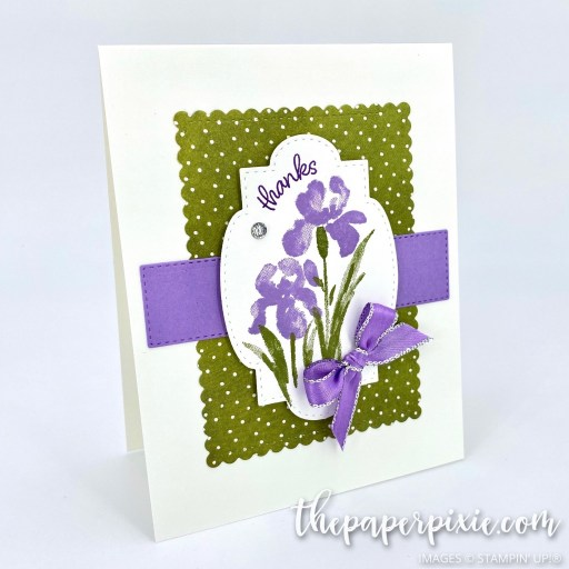 This is a handmade card stamped with the Inspiring Iris Stampin' Up! stamp set and the sentiment says thanks.