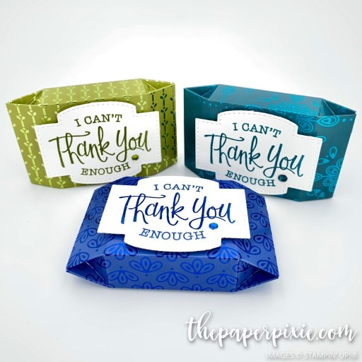 This is a handmade Noble Peacock treat box craft project created by the Paper Pixie using Stampin' Up! supplies.