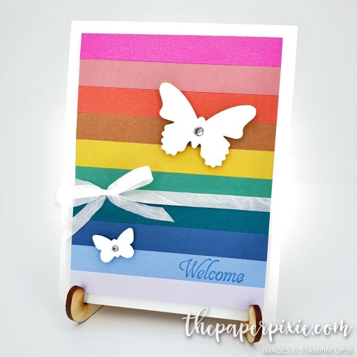This is a handmade card using all 10 Stampin' Up! In Color paper and the sentiment says welcome.