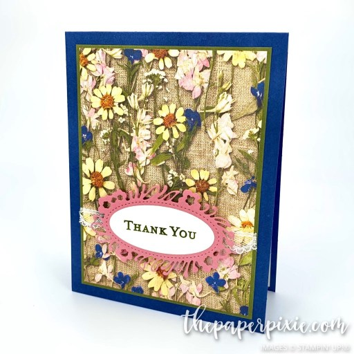 This is a handmade card made with the Pressed Petals Stampin' Up! paper and the sentiment says thank you.