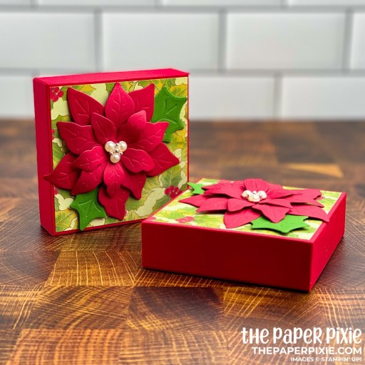 This is a handmade gift box craft project created by the Paper Pixie using Stampin' Up! Poinsettia Petals bundle.