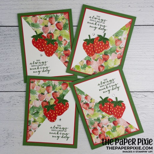 This is a handmade card made with the Berry Blessings Stampin' Up! bundle and the sentiment says you always have a way of making my day.