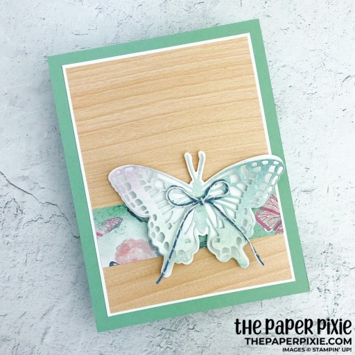 This is a handmade card made with the Brilliant Wings Stampin' Up! dies and the sentiment says happy thoughts.