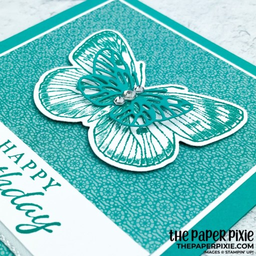 This is a handmade card made with the Butterfly Brilliance Stampin' Up! bundle and the sentiment says happy birthday.