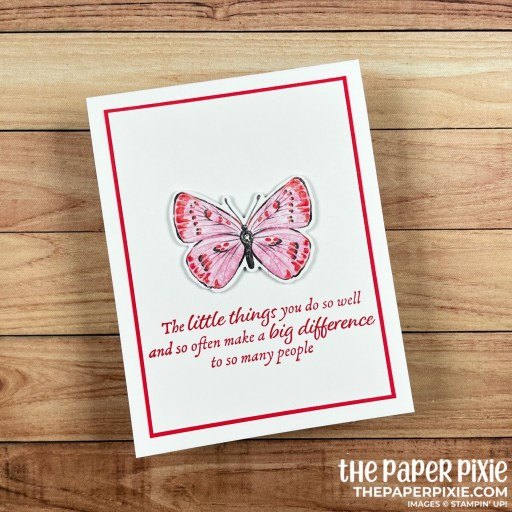 This is a handmade card stamped with the Butterfly Bijou Stampin' Up! Designer Series Paper and the sentiment says the little things you do so well and so often make a big difference to so many people.