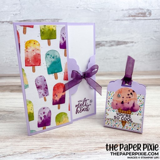 This is a handmade card and treat box made with the Ice Cream Corner Stampin' Up! product suite and the sentiment says you're so cool.