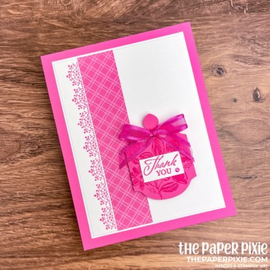 This is a handmade card stamped with the Elegantly Said Stampin' Up! bundle and the sentiment says thank you.