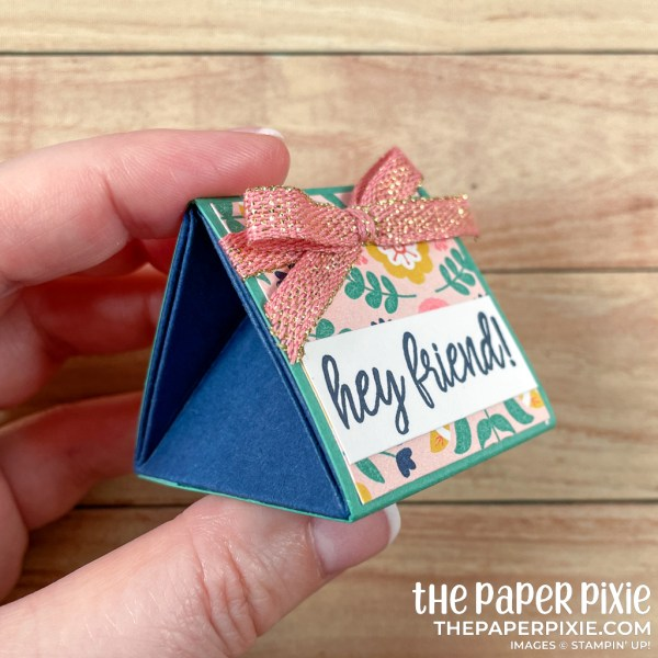 This is a handmade explosion box made with the Sweet Symmetry Stampin' Up! product suite and the sentiment says hey friend.