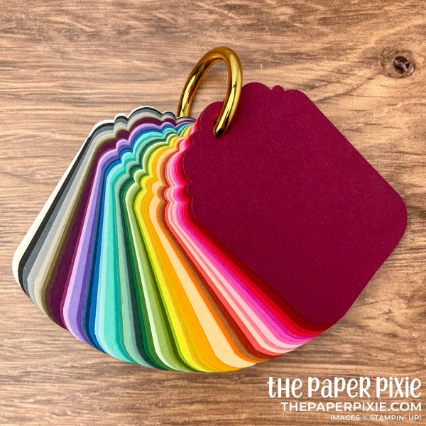 This is a picture of a Stampin' Up! cardstock sampler in rainbow order.