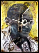 Gandhi 1 Tecnica mista su tavola, tela, neon e plexiglas (PMMA) combusto 150x100x13 cm
