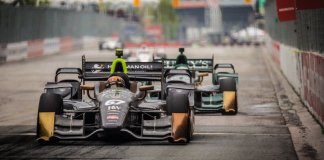 Teammates Josef Newgarden and Luca Filippi go nose-to-tail entering Turn 1 during the Honda Indy Toronto -- Photo by: Shawn Gritzmacher