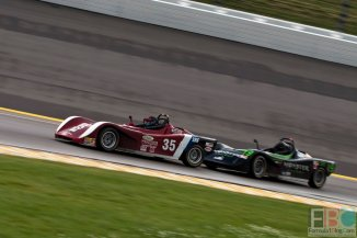 Richard Wiese  brings his #35 Spec Racer Ford into Turn 1 ahead of  Grayson Strathman int he #19.