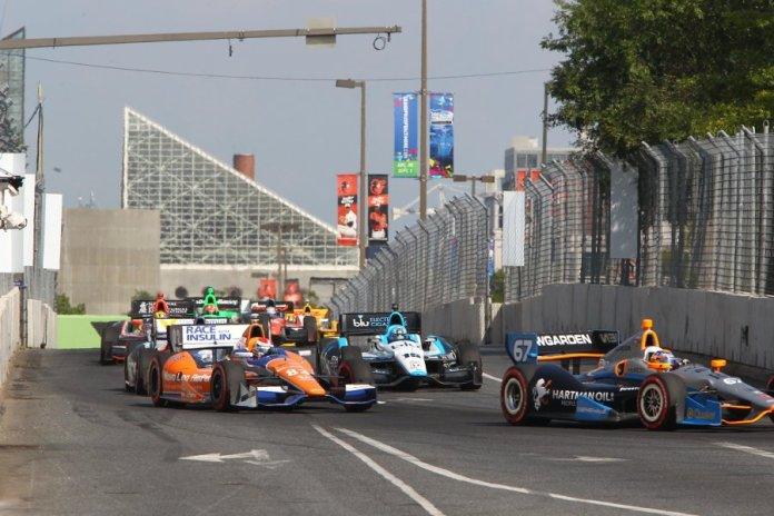 Josef Newgarden leads a group of cars during the Grand Prix of Baltimore -- Photo by: Chris Jones