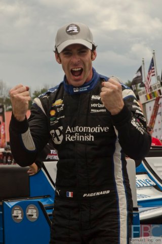 Driver of the #22 Penske Chevrolet-powered machine, Simon Pagenaud, celebrates his pole-winning qualifying effort at the Mid-Ohio Sports Car Course.