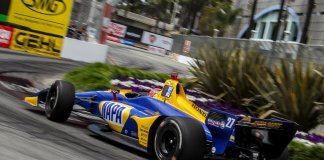 Alexander Rossi negotiating the Fountain Turn at the Toyota Grand Prix of Long Beach. -- Photo by Scott James, @sjamesphoto