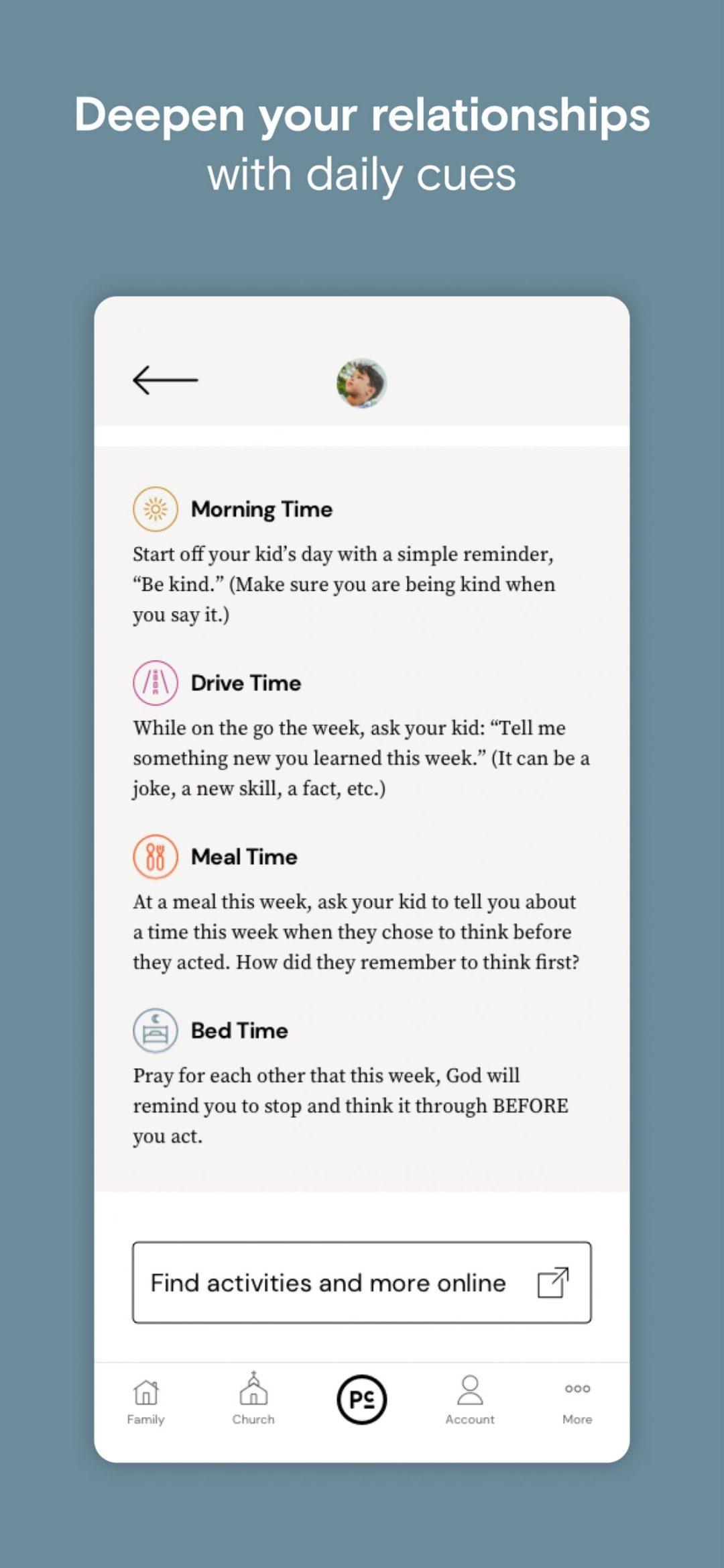 Parent Cue App - Times