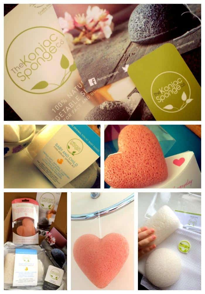 seven small images showing heart shaped spongs, logos for the Kojac sponge company, and bathroom fittings