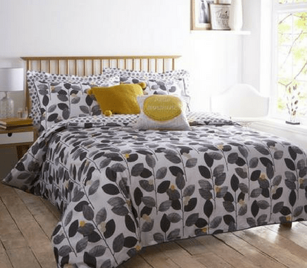 bed with mustard cushions