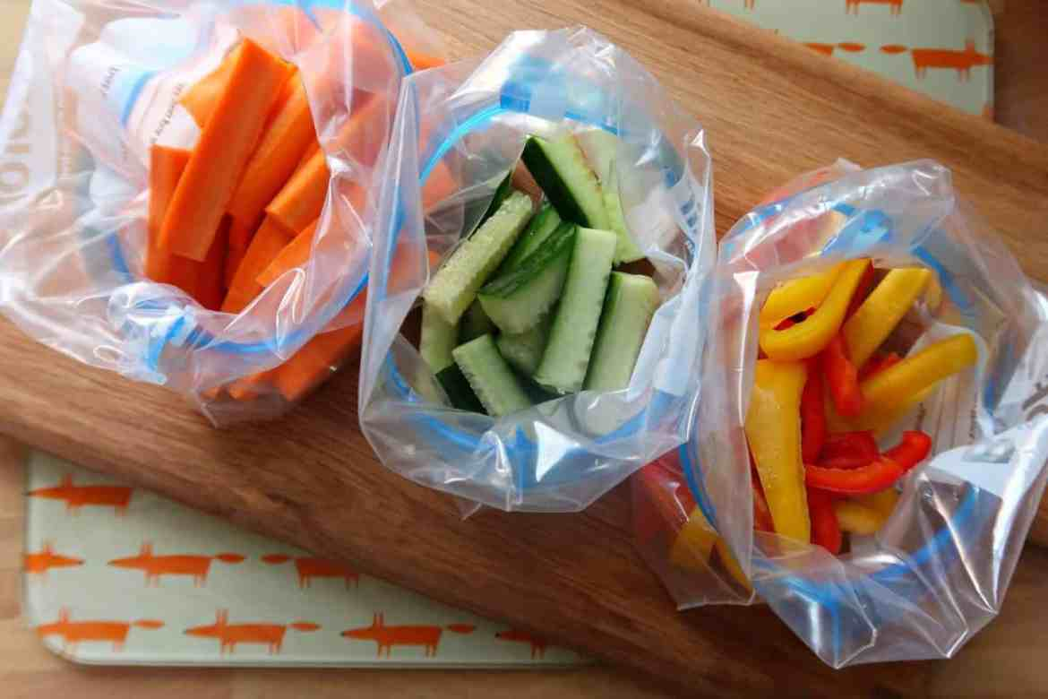 Chopped up carrot, cucumber and pepper for child's lunchbox