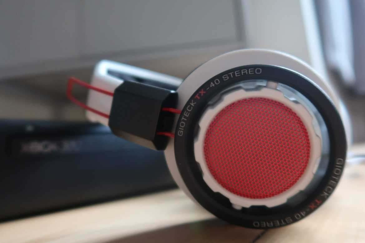 Close up of red and silver headphones in Father's Day gift ideas guide