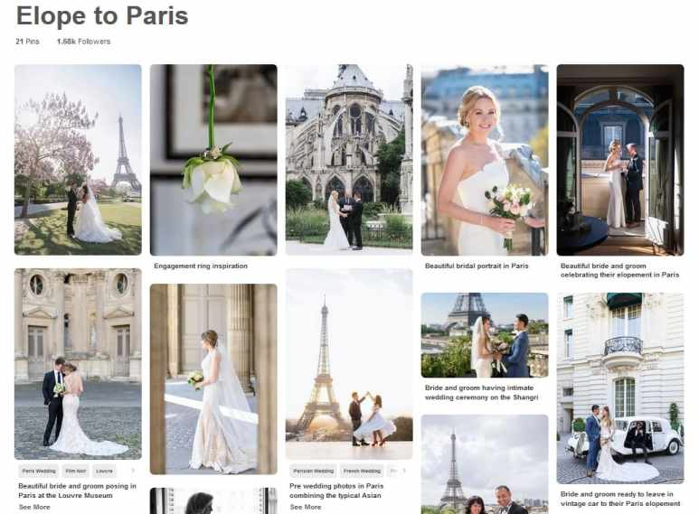 Elope to Paris inspiration board