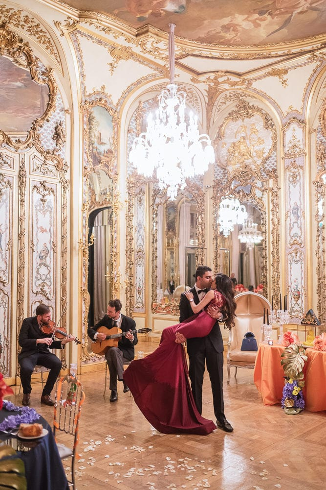 Paris proposal planner - newly engaged indian guy carrying his fiance in the crystal room ballroom
