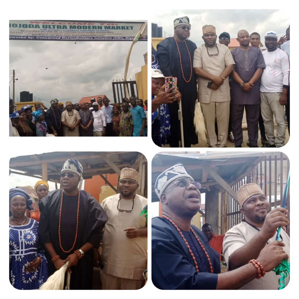 Oba Alara, Hon.Saliu Storm Mojoda Market as CNI Unveils Sign Post